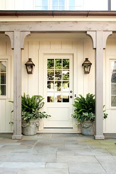 Ready for a front door refresh but not sure where to start? Look to these expert color tips and discover the perfect hue for your home. Front Porch Pillars, House Pillars, Front Door Steps, House Front Porch, Grey Front Doors, Porch Steps, Painted Front Doors, Front Door Colors, Front Porches