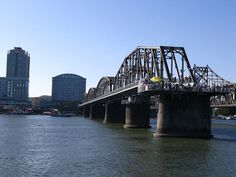 Both Bridges, View From Mid River  Sino-Korean Friendship Bridge