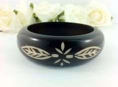 Vintage Dark Coffee Brown Carved Plastic Bracelet. Quality, Weighty. Jewelry Fashion on Etsy, $30.00