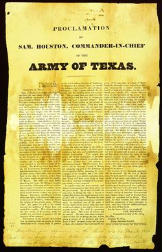 """This broadsheet, from December 12, 1835, presents Gen. Houston's impassioned call for volunteer troops. It concludes with the words: """"Let the brave rally to our standard!"""""""