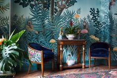 Ręcznie malowana tapeta firmy de Gournay, wzór Rousseau w kolorystyce Full Custom. Cena za panel (szer. 915mm) od 2.140 Euro