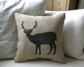 Deer stamped burlap pillow for boys bedroom