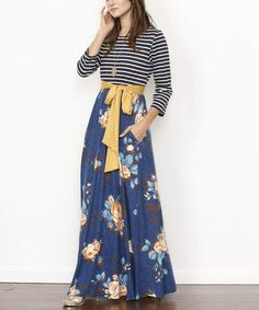 37404b6cf0b egs by éloges Blue   Mustard Floral Maxi Dress - Women