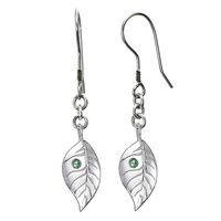 Green sapphire feather earrings