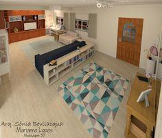Design interiores estilo provençal contemporâneo para sala de TV e hall de entrada.