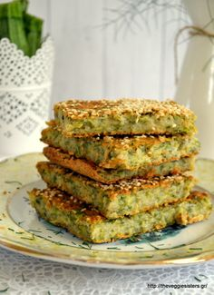 Vegan μπατζίνα - The Veggie Sisters Vegetarian Recipes, Snack Recipes, Cooking Recipes, Vegan Finger Foods, Vegetable Lasagne, Zucchini Pie, Cooking On A Budget, Vegan Dishes, Greek Recipes
