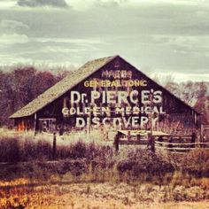 A barn near Echo, Oregon, is painted with an advertisement for Dr. Pierce's tonic.