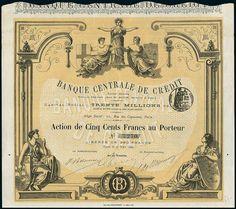 Banque Centrale de Crédit. Action F500, Paris 27.3.1882
