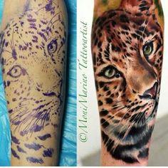 Leopard arm tattoo
