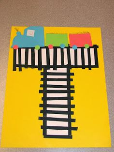T is for Train craftivity, and alphabet train sorting activity Letter T Activities, Preschool Letter Crafts, Alphabet Letter Crafts, Abc Crafts, Preschool Activities, Alphabet Book, Letter Art, Train Activities, Letter Tracing