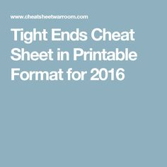 Tight Ends Cheat Sheet in Printable Format for 2016