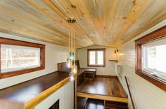 This is the 208 square feet Sheriff Tiny House on Wheels by Wishbone Tiny Homes that features a balcony! Buy A Tiny House, Tiny House Living, Tiny House Design, Tiny House On Wheels, Tiny House Storage, Tiny House Nation, Elderly Home, Built In Desk, Living Room Windows