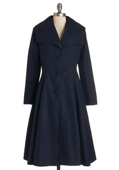 Intrigue All About It Coat - Long, Woven, 3, Blue, Solid, Buttons, Party, Work, Vintage Inspired, 40s, 50s, Long Sleeve, Fall, Winter, Best, Blue, Pockets