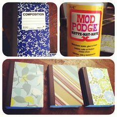 dollar store notebooks + mod podge + scrapbook paper = gorgeous.