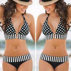 Damen Push-Up Bikini Set Oversize Badeanzug Padded Schwimmanzug Bademode Sexy Sexy Bikini, Bikini Rose, Rosa Bikini, Bikini Push Up, Pink Bikini, Bikini Swimsuit, Halter Bikini, Polka Dot Bikini, Polka Dots