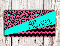Personalized license plate  by ToGildTheLily, $16.99 - Love the hot pink and aqua/Tiffany blue combo on this car tag !  #cheetah #chevron @Etsy