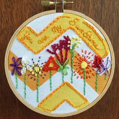 Finished!  Kinda kept getting crazier but I like it, and I've never stitched a 'you are my sunshine' so I figured I was overdue ☀️.