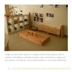 Construction/building space in 2-3 year old classroom.  Reggio Inspired Practice.