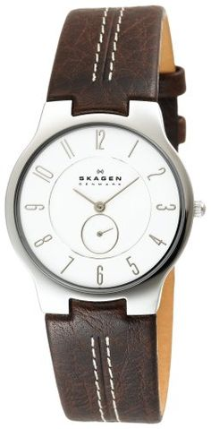 Skagen Men's 433LSL1 Slim Brown Leather Watch -      $  100.00  Quartz movementMineral crystalCase diameter: 36 mmStainless-steel case; White dialWater-resistant to 99 feet (30 M)  Textured with a touch of style. Brown genuine leather straps connect