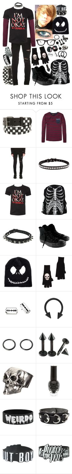 """""""axel - high school stereotype day (emo kid)"""" by kinathegreat ❤ liked on Polyvore featuring ADAM, Scotch & Soda, AMIRI, CO, Converse, Ray-Ban, Autumn Cashmere, Dsquared2, men's fashion and menswear"""