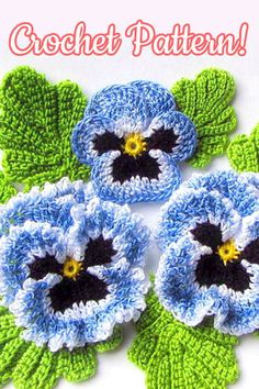 Hand dyed crochet thread realistic pansy viola by FoxStitchDesign Crochet Flower Tutorial, Crochet Flower Patterns, Crochet Stitches Patterns, Crochet Flowers, Crochet Gifts, Diy Crochet, Irish Crochet, Flower Motif, Pansy Flower