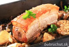 Photo about Roast pork belly with garlic and onion. Image of roasted, meat, baked - 25483848 Pork Belly Roast, Pork Roast, Menu Restaurant, Meatloaf, Bacon, Sandwiches, Turkey, Food, Insight