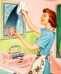 Cleaning the bathroom, in the 50's...