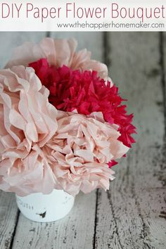 Need an easy, inexpensive, fast craft idea? Create these beautiful tissue paper flowers to decorate your home or add to gifts, wreaths, or more!