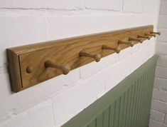 Handmade wooden oak shaker peg coat and hat rack 2 to 18 pegs