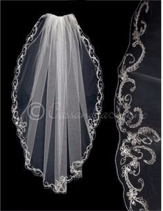 Fingertip Bridal Veil with Sequins and Silver Scrolls