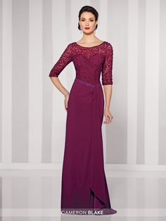 Cameron Blake - 216695 - Jersey sheath with hand-beaded and lace illusion three-quarter length sleeves and bateau neckline over a sweetheart bodice, beaded asymmetrical waistline, lace illusion back, side draped skirt with side slit, sweep train. Sizes: 4 - 20 Colors: Navy Blue, Claret