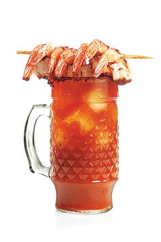 Michelada con Camarones (Spicy Beer Cocktail with Shrimp) Recipe - Saveur.com-for the guys, maybe cookies with the eggnog for my girls ;)