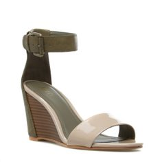 olive and nude wedge sandals