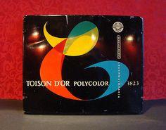 SET OF 14  VINTAGE  BOHEMIA WORKS POLYCOLOR COLOR PENCILS BOX TOISON D'OR