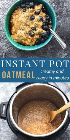 Creamy and ready in minutes, this Instant Pot oatmeal is an easy breakfast to prepare fresh or for meal prep. No stirring, and it always comes out perfect. #sweetpeasandsaffron #instantpot