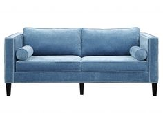 This blue velvet sofa provides a stunning focal point in your living room. The streamlined design blends seamlessly with either traditional or modern furnishings, while hand-applied nailhead trim, bla Living Room Sofa, Living Room Furniture, Cool Furniture, Modern Furniture, Furniture Outlet, Online Furniture, Velvet Furniture, Blue Furniture, Furniture Removal
