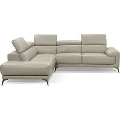 Sectional W/ Left Facing Chaise In Taupe Top Grain Italian Leather  #dynamichome #italian