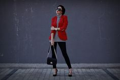 Get this look: http://lb.nu/look/8925959  More looks by Ewa Macherowska: http://lb.nu/evdaily  Items in this look:  Reserved Blazer, Second Hand Blouse, Bershka Pants, Deezee Heels, Zaful Bag, Michael Kors Watch, Nn Beret, C&A Sunglasses   #chic #elegant #romantic #red #black #grey #white #silver #stripes