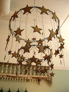 Star chandelier- so dreamy-worthy and perfect for above a bed. Not lighted- I think I can diy. Star Chandelier, Mobile Chandelier, Craft Projects, Projects To Try, Twinkle Twinkle Little Star, Savannah Chat, Wind Chimes, Christmas Crafts, Diy Crafts