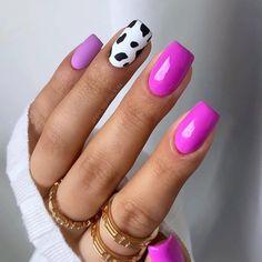 Cow Nails, Colorful Nail Designs, Nail Polish Designs, Nail Inspo, Summer Nails, Nail Colors, Make Up, Nail Art, Beauty