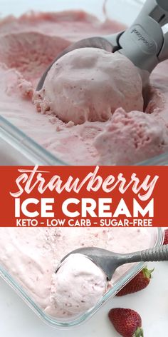 Without an ice cream maker! This creamy no-churn strawberry ice cream is sugar-free and absolutely delicious. My son declared it some of the best homemade ice cream I've ever made. Cool off this summer with a wonderful keto ice cream treat. Low Carb Cake, Low Carb Keto, Low Carb Recipes, Diet Recipes, Healthy Recipes, Ketogenic Recipes, Keto Fat, Ketogenic Diet, Slimfast Recipes
