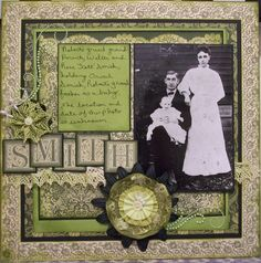 Smith ~ Striking lime green color scheme with beautiful pearl studded swirls, decorative square border frame and nice use of block letter title font. The hand-written journaling adds a personal touch.