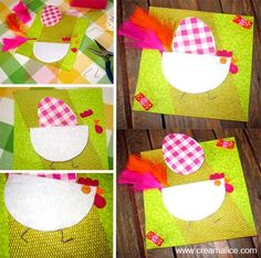 ¨°o.O Carte Poulette de Pâques / Easter Chick Card O.o°¨     www.creamalice.com Easter Activities, Art Activities, September Art, Chicken Crafts, Arts And Crafts, Paper Crafts, Diy Ostern, Easter Crafts For Kids, Holidays And Events
