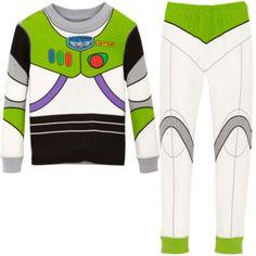 A tu pequeño guardián espacial le encantará este pijama tipo disfraz de Buzz Lightyear. Es suave y muy cómodo, imita el traje espacial del personaje, e incluye varias insignias y botones estampados.