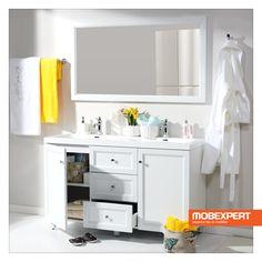 """Masca pentru lavoar Kent este realizată din MDF înfoliat. Sertarele măștii Kent sunt prevăzute cu sistem de glisare ascuns, extensibil 80%, și închidere ușoară """"soft-closing"""". #mobexpert #mobilier #baie Double Vanity, Bathroom, Washroom, Bathrooms, Bath, Double Sink Vanity"""