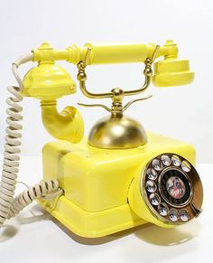 Reserved for dan -- refurished vintage victorian rotary phone Antique Phone, Retro Phone, Vintage Phones, Old Phone, Country Style Homes, Shades Of Yellow, Mellow Yellow, Color Yellow, Happy Colors