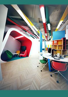Project office BOB by Galina Lavrishcheva, via Behance Creative Office Space, Office Space Design, Workspace Design, Cool Office, Office Workspace, Office Interior Design, Office Interiors, Design Thinking, Corporate Office Design
