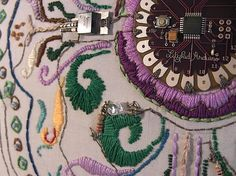 Beautifully integrated sewn circuit design featuring the Arduino Lilypad