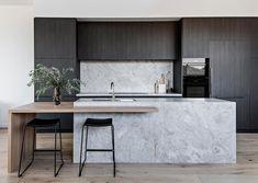 Industrial Kitchen Design, Luxury Kitchen Design, Contemporary Kitchen Design, Interior Design Kitchen, Home Decor Kitchen, Home Kitchens, Kitchen Ideas, Kitchen Island Bench, Minimalist Kitchen