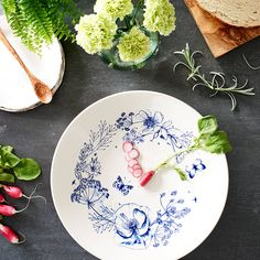 What Katie Loves . Not on the High Street . Wild Garden Sketches Statement Bowl . { love these plates . so pretty . almost too nice to cover with food ! } .